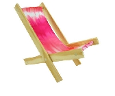 Wooden Toy Lounge Chair with pink tie dye fabric