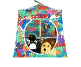 Multicolor Toy Pop Up Tent and 2 Sleeping Bags with animal print fabric
