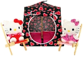Black Toy Pop Up Tent and 2 Sleeping Bags with sparkling heart print fabric