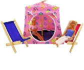 Pink Toy Pop Up Tent and 2 Sleeping Bags with Barbie print sparkling fabric