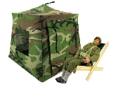 Brown black green Toy Pop Up Tent and 2 Sleeping Bags with camouflage print fabric