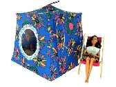 Blue Toy Pop Up Tent and 2 Sleeping Bags with daisy print fabric