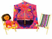 Pink Toy Pop Up Tent and 2 Sleeping Bags with flower and heart print fabric