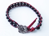Red Leather with Black Onyx Beads
