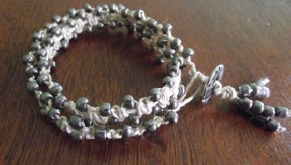 Natural Hemp Double Wrap Beaded Bracelet