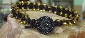 Black Hemp with Gold Glass Beads