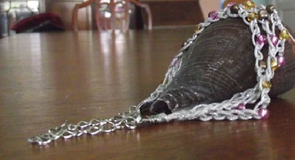 Triple Strand Beaded Crochet Bracelet