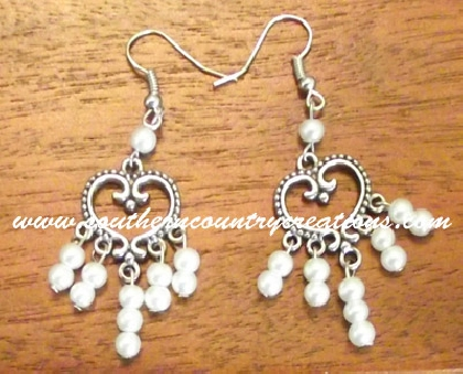 Filagree Heart with Glass Pearl earrings