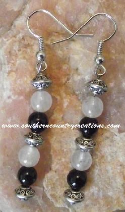 Black Onyx White Quartz Silver Beads with French Hooks