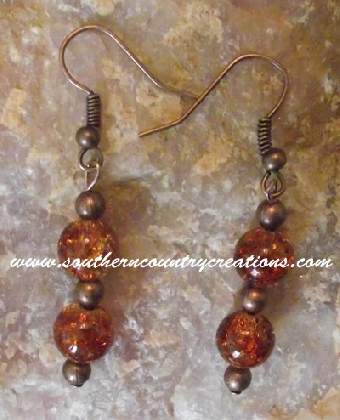 Copper and Crackle Glass Earrings