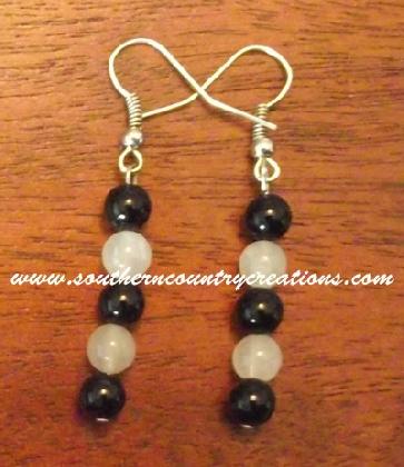 Black Onyx and White Quartz Earrings