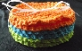 Round Crochet Coaster Set in Summery Colors