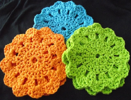 Fancy Crochet Coaster Set in Summer Colors