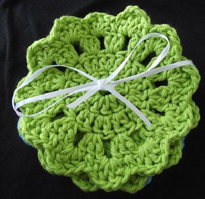 Fancy Crochet Coaster Set in Summer Colors