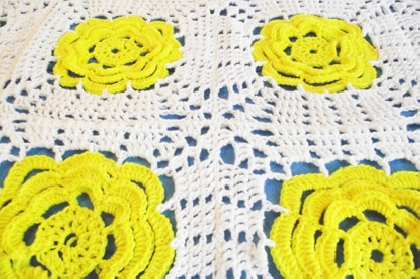 Crochet Yellow Rose Coverlet