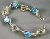 blue and swirl caged marble bracelet