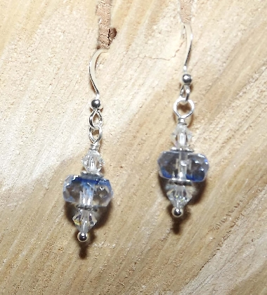 Vintage Blue Clear Glass With Swarovski Earrings