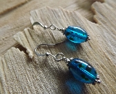 Deep Blue Ocean Speckled Earrings