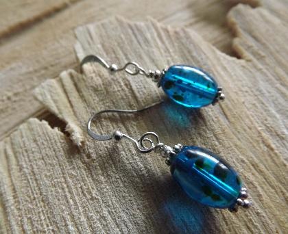 Deep Blue Ocean Speckled Earrings
