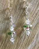 Vintage Green and Pink Clear Glass With Swarovski Earrings