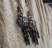 Tibetan Silver Medallion Dangly Earrings