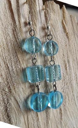 Retro Cool Blue Glass Earrings