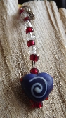 Red White and a Blue Swirled Heart Accessories Charm
