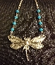 Beautiful DragonFly Necklace with Blue Bead Accent