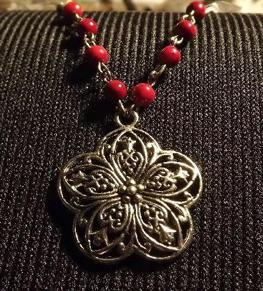 Beautiful Flower Necklace with Deep Red Beads
