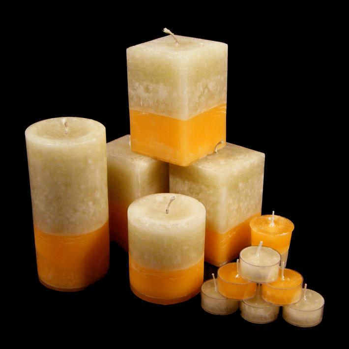 Ginger Peach Square Pillar Candle