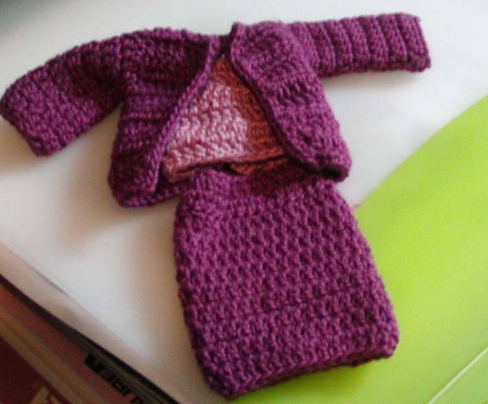 Fashion Doll 3 Piece Suit in Dark Mulberry and Light Mulberry Purple