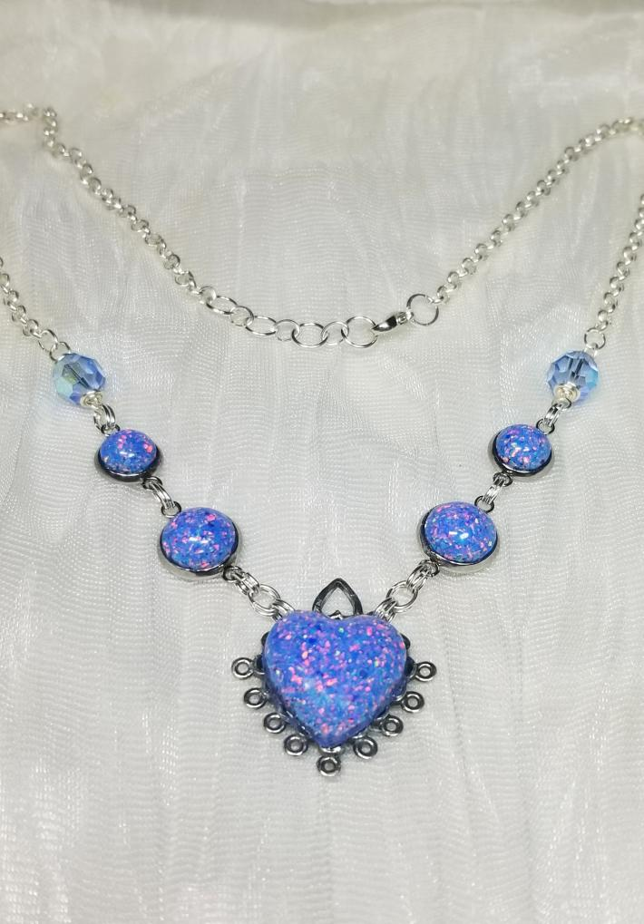 Crushed Synthetic Opal Resin Necklace