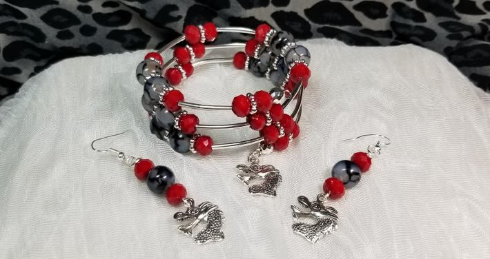 Dragon Vein Agate Red Crystal Bracelet And Earring Set