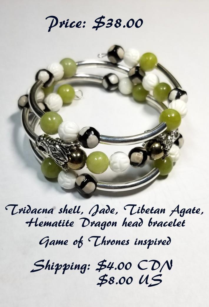 Jade Tibetan Agate Tridacna Carved Shell Dragon Head Bracelet