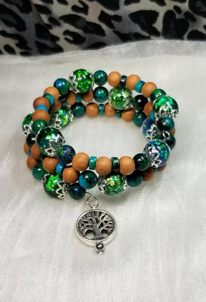 Sandalwood Jasper Resin Bead Bracelet