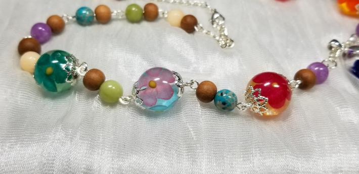 Flower Bead and Pendant Resin Necklace