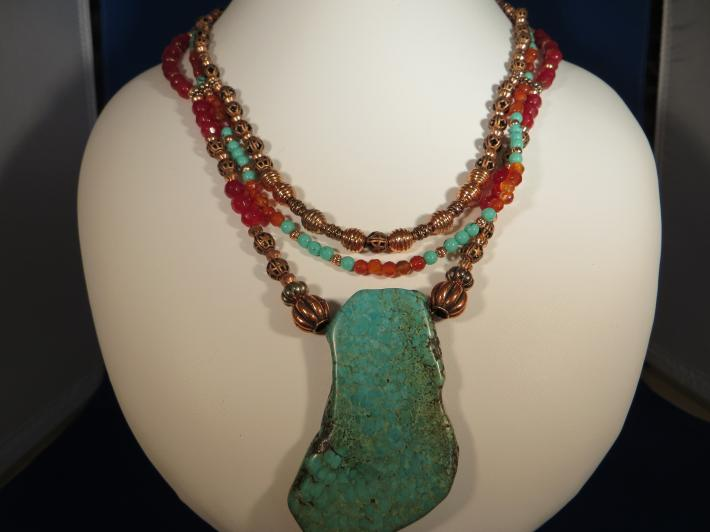 Large Turquoise Slab Pendant with Copper and Coral Beads