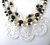 Crisp Black and White Acrylic Neclace with Frosted Drops for a Lace effect