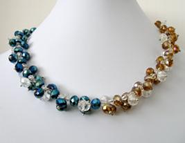 Necklace in Blue and Topaz Clusters
