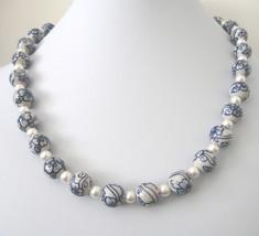 Necklace in Blue and White Porcelain with Swarovski Pearl Spacers