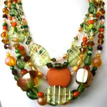 Necklace Bold and Beautiful Statement in Shades of Melon and Green