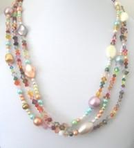 Necklace of Multi Colored Pearls and Swarovski Crystals