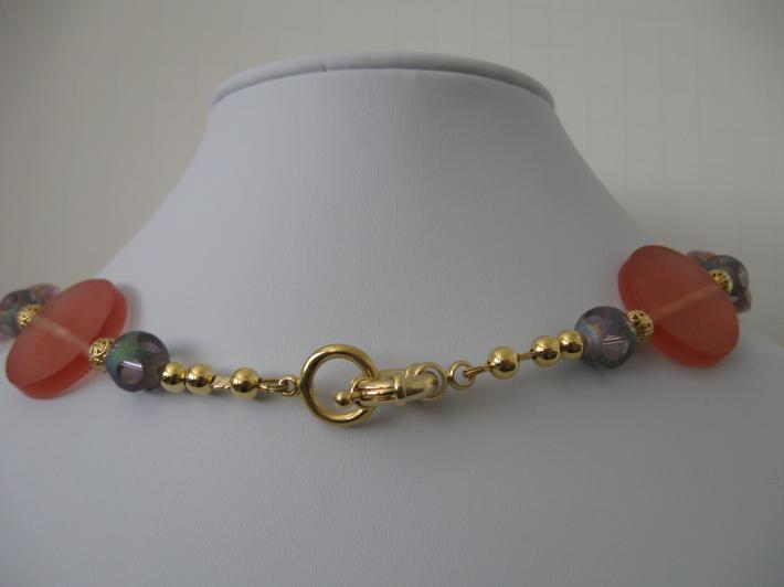 Unique Acrylic Necklace in Turquoise and Melon with Gold Filigree