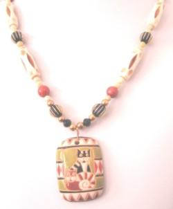 Necklace of Adorable Cats Painted on Ceramic Pendant with Bone and Glass Beads