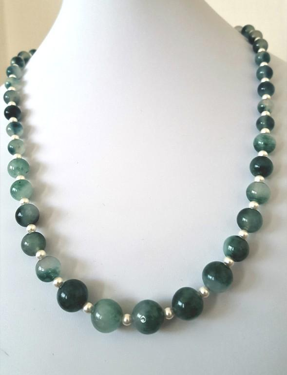 Green Jade and Swarovski Pearl Necklace with Bracelet and Earrings
