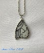 Stained Glass Pendant White Butterfly Wing  bfly0030