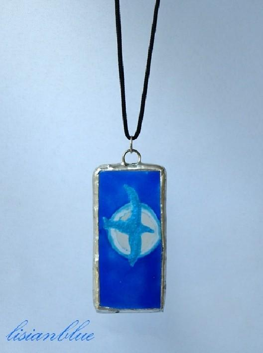 Blue Bird Hand Painted Stained Glass Pendant sgp0042