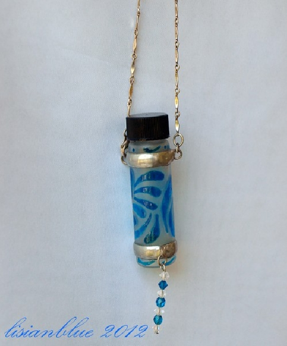 Fairy Bottle Necklace Hand Painted Glass Bottle hpg0051