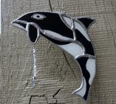 Hand Painted Stained Glass Orca Wind Chime wc0022