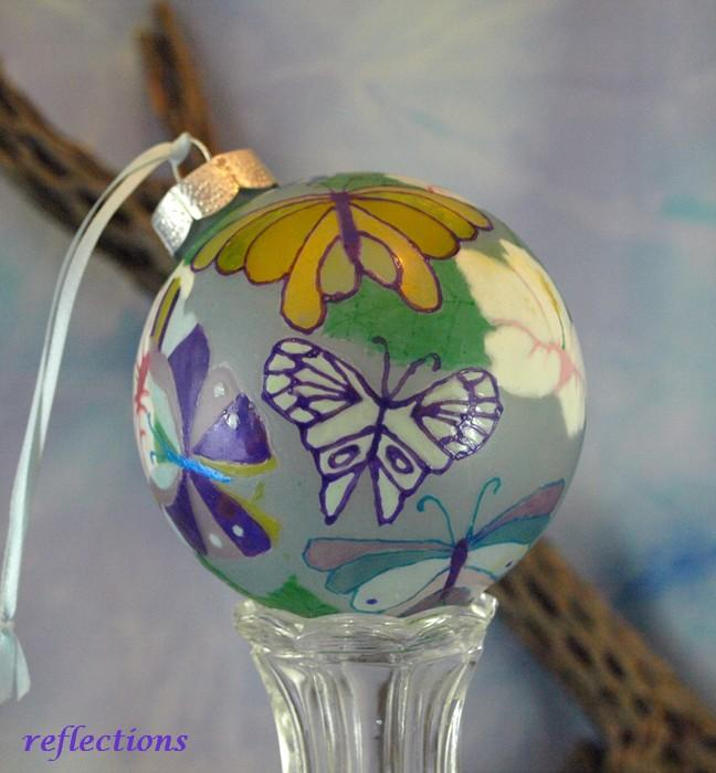 Spring Butterfly Celebration Hand Painted Glass Ornament go0114
